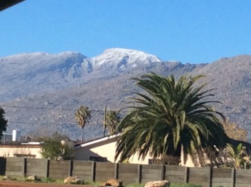 Snow on the mountains in Ceres, Western Cape