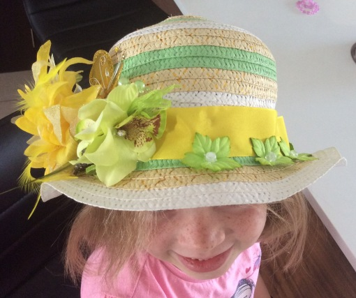 Spring Hat being modeled by my eldest
