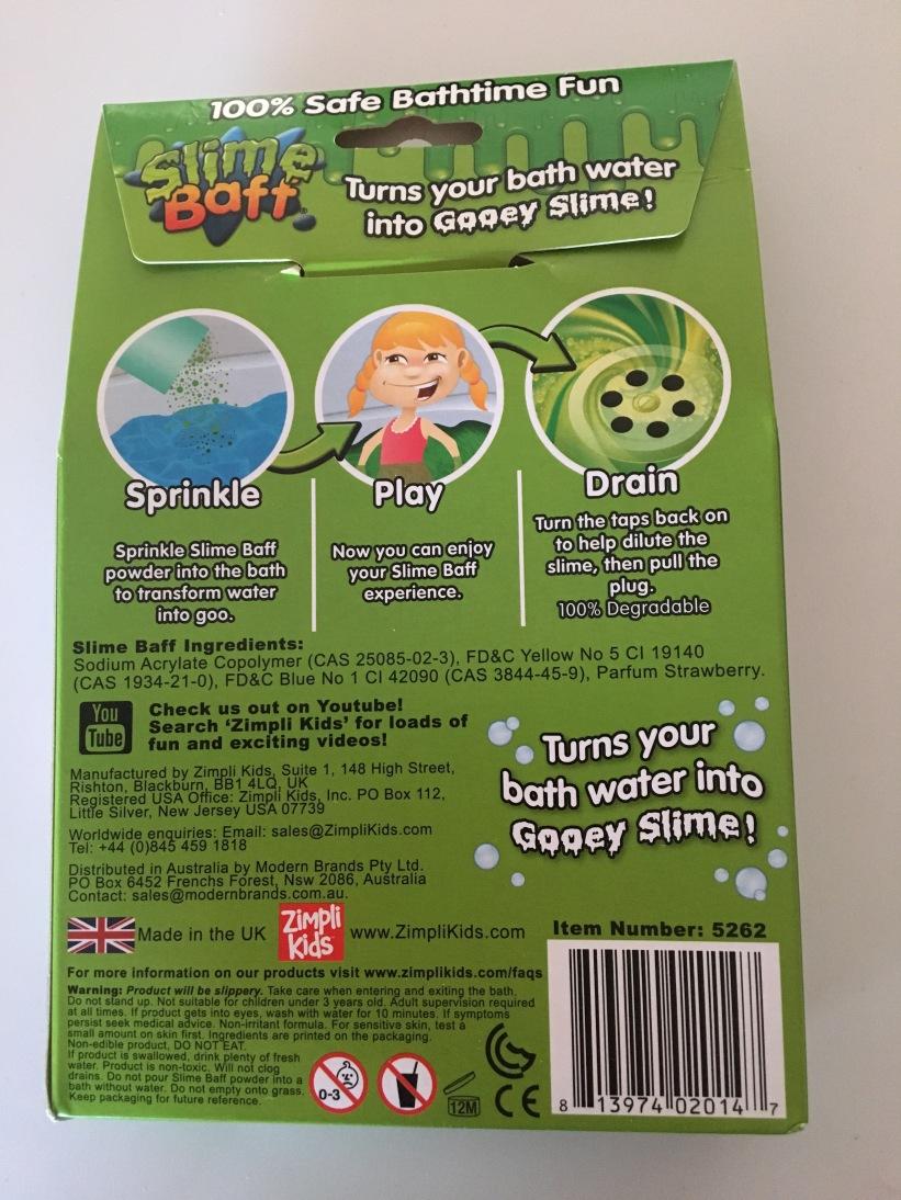 Zimpli Kids Green Slime Baff box instructions.